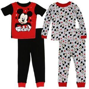 Mickey Mouse 4 Piece Pajama Set. 12M-4T